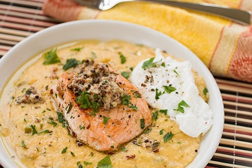 Butter-Poached-Salmon-Over-Cheesy-Grits-with-Poached-Egg-Bacon-Gravy2